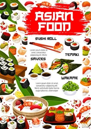 Japanese sushi bar and Asian seafood cuisine menu with maki rolls and sashimi.