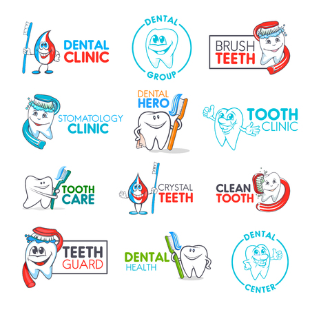 Dental clinic and kid dentistry medical center corporate identity icons.