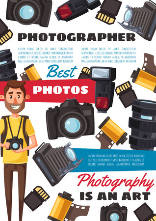 Photographer profession and photo shooting equipment, cameras and film reels.