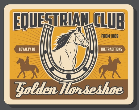 Hippodrome riding and horse racing sport vintage poster. Vector equine races training and jockey polo equine club championship tournament, horseshoe symbol and horse ride on racecourse arena