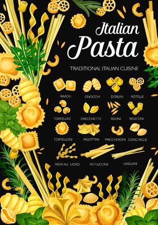 Italian pasta, Italy traditional cuisine restaurant menu.