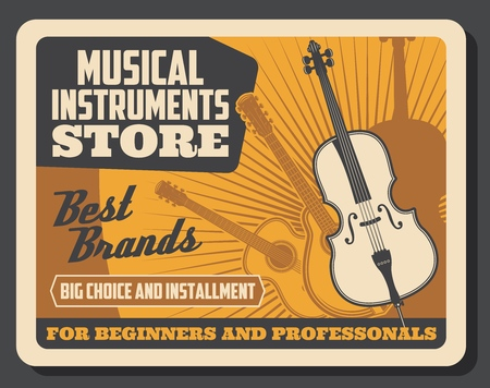 Musical instruments store for beginners and advanced players. Vector retro vintage poster of violin fiddle, contrabass and acoustic bass guitar, jazz and classical music professional instruments