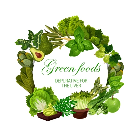Green food nutrition, color diet healthy vegan salads, vegetables and berries. Illustration