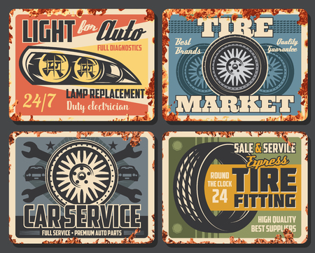 Car auto service station, mechanic garage rusty grunge plate posters. Vector automotive transport repair station, tire fitting and rim replacement, headlight lamp diagnostics and electrician service Illustration