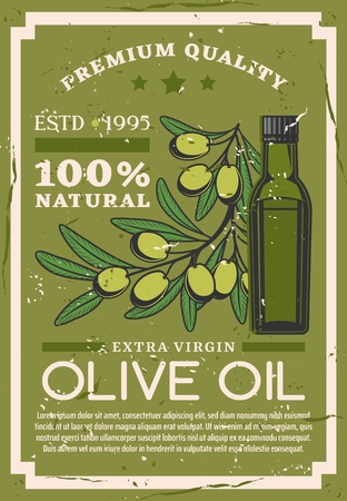 Olive oil natural extra virgin production farm vintage grunge poster. Vector olive branch and cooking organic Italian or Portuguese and Greek olive bottle package label