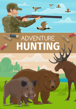 Hunter sport adventure and hunting open season poster. Vector outdoor hunt for elk antler, boar hog and wild bear or ducks fowl, hunter ammo equipment rifle gun bullets and camouflage outfit Illustration