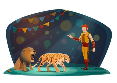 Circus arena and performance show with trained wild animals. Vector big top circus animal tamer with whip performing with roaring lion and tiger in arena spotlight