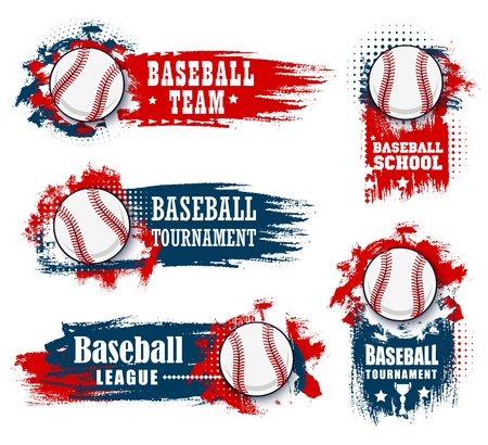 Baseball sport banners with halftone blue and red Çizim