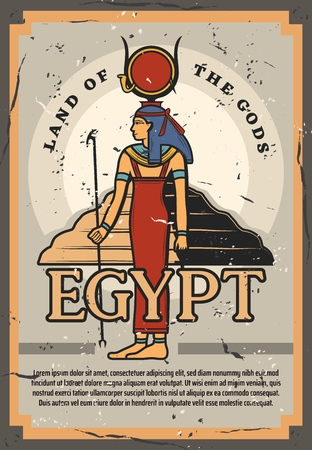Egypt tourist trips or culture and history museum vintage grunge poster. Çizim