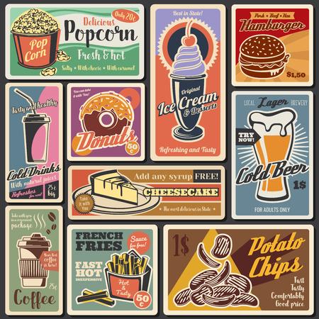 Fast foody vintage retro plakaty menu. Wektor dostawa restauracji fastfood i hamburgery na wynos i kanapki z frytkami ziemniaczanymi frytkami i popcornem, deser sernik i kawa, pączek i piwo