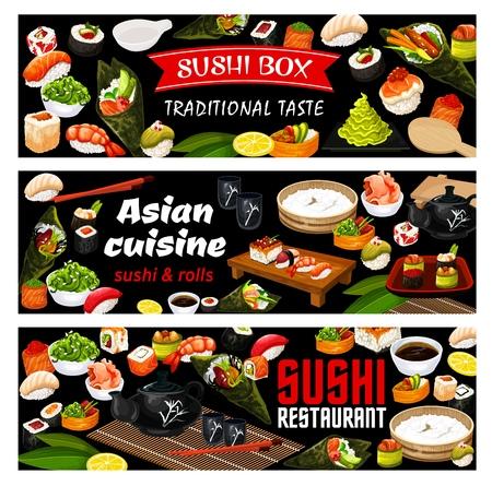 Japanese sushi bar banners, Asian seafood cuisine buffet menu. Vector lunch maki and rolls tempura with salmon Califronia, unagi and gunkan hosomaki, green tea, rice with wasabi and chopsticks 向量圖像