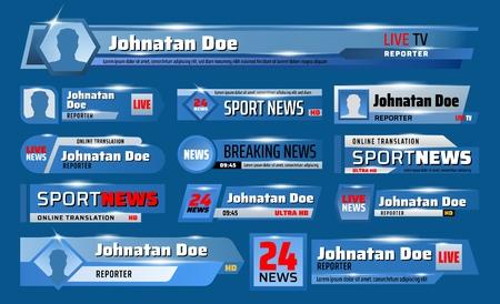 Tła telewizyjne z wiadomościami sportowymi z tytułem nagłówka transmisji i dolnymi paskami.