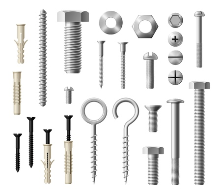 Construction fasteners isolated realistic set of screws, bolts and nuts. Vector metallic lag screws, bolts and hex cap nuts, eye hooks and drywalls with twinfasts and wood fasteners Çizim