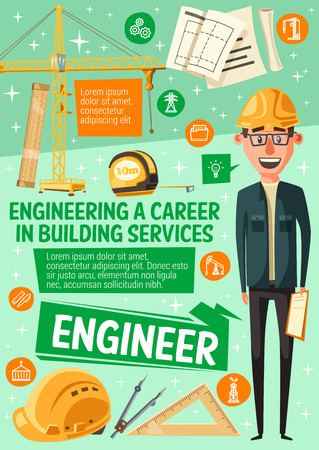 Construction engineer profession, house building and engineering career. Illustration