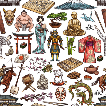Japan culture seamless pattern of Japanese tradition symbols.