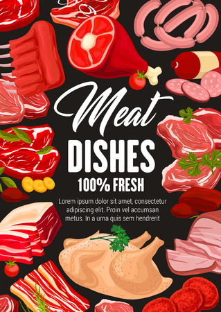 Butcher shop meat and sausages, cooking and gastronomy meaty food products. Vector farm butchery poster of beef steak or pork ham and chicken or turkey leg with brisket, salami and mutton ribs Imagens - 124122735