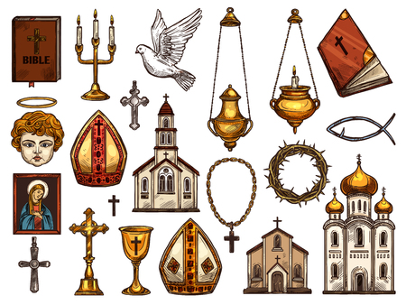 Orthodox and catholic or evangelic and protestant Christianity religion symbols. Illustration