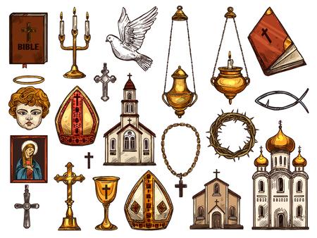 Símbolos de la religión del cristianismo ortodoxo y católico o evangélico y protestante. Ilustración de vector