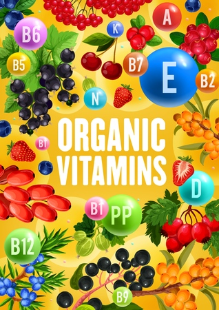 Berries with natural organic vitamins and minerals complex.