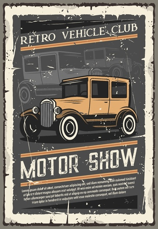 Vintage old cars show, retro vehicles club exhibition old grunge poster. Ilustração