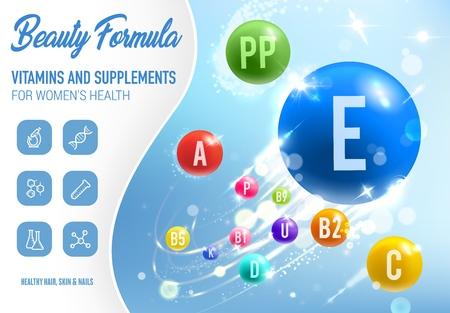 Gesundheitsvitamine, Mineralien und Nahrungsergänzungsmittel Poster.