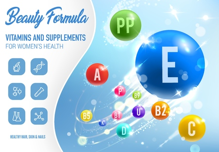 Health vitamins, minerals and dietary supplements poster. 矢量图像