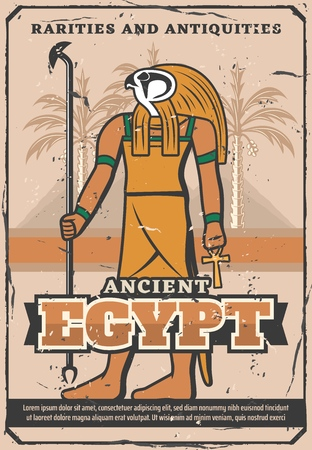 Le trésor de l'Egypte ancienne, les souvenirs de rareté et l'affiche vintage de la boutique d'antiquités.