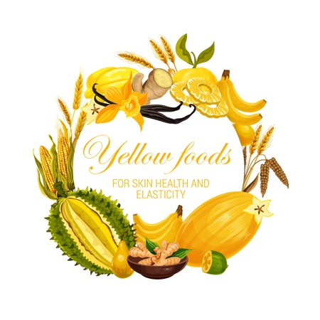 Yellow food nutrition, color diet healthy fruits, cereals and spices.