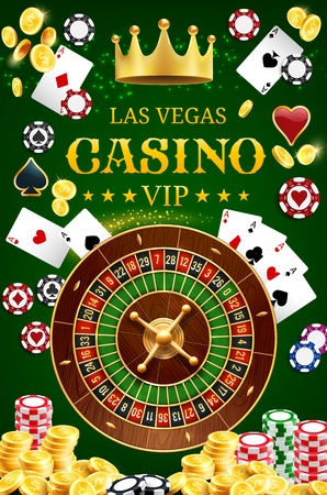 Casino gamble game wheel of fortune roulette with dice and poker playing cards.