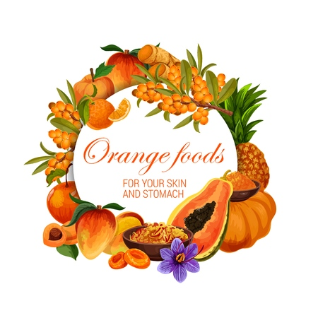 Orange food nutrition, color diet healthy fruits, berries and spices.