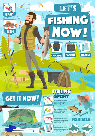 Fishing adventure and lake or river fish catching sport. Illustration