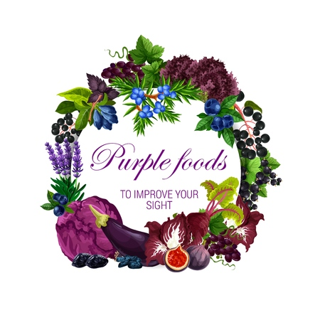 Purple food nutrition, color diet healthy fruits, berries or vegetable salads and spices