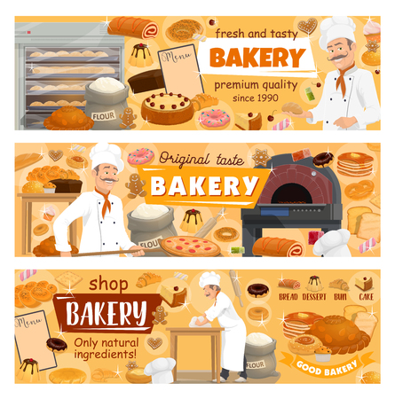Baker at bakery shop baking bread, desserts and pastry sweets. Illustration