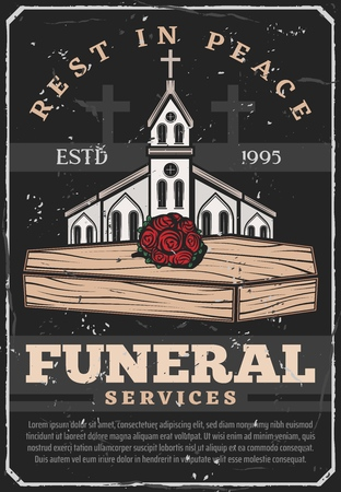 Funeral service agency vintage poster. Vector grunge burial ceremony text Rest in Peace with cemetery crosses, Christian church chapel and roses flowers bunch on wooden coffin Иллюстрация