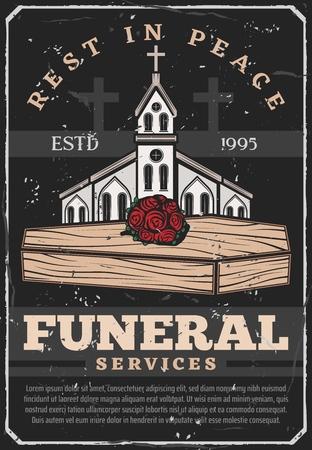 Uitvaartbureau vintage poster. Vector grunge begrafenis ceremonie tekst Rust in vrede met begraafplaats kruisen, christelijke kerk kapel en rozen bloemen bos op houten kist