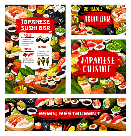 Japanese sushi bar menu, Asian seafood cuisine restaurant food banner. Vector maki and temaki rolls fish and seafod sashimi, tempura hosomaki and wakame seaweed salad bento lunch with chopsticks Stock Illustratie