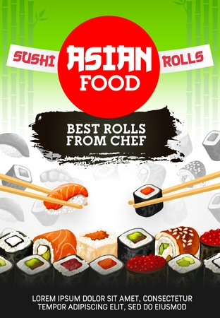 Japanese sushi bar menu, premium Asian food maki and rolls from chef.