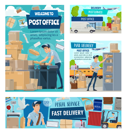 Mail delivery courier or postman profession, post office logistics of correspondence and parcels. Vector post office express delivery air mail cargo, storehouse truck and envelope letter rubber stamp Illustration