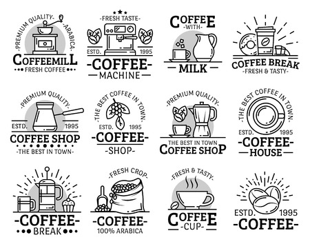 Coffee shop, cafe or cafeteria and coffeehouse line icons.