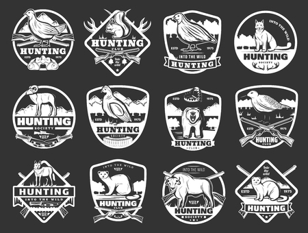 Hunter club badges and hunting society open season icons.
