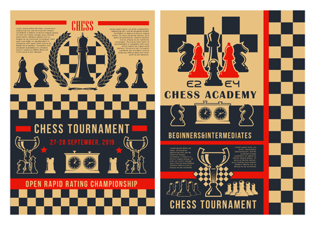 Chess academy game tournament posters. Vector chess club championship cup for beginners and professional player, pieces in checkmate strategy on chessboard with game score clock and victory laurel