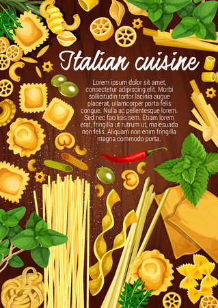 Italian cuisine pasta and cooking ingredients, restaurant menu and Italy pasta recipe. Vector ravioli, gnocchi and lasagna with olives, basil and arugula spices, tortellini and fettuccine with pepper