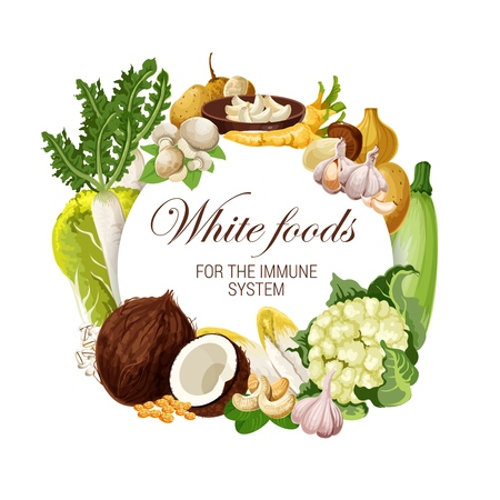 White food nutrition, color diet healthy fruits, nuts and vegetable salads. Ilustração