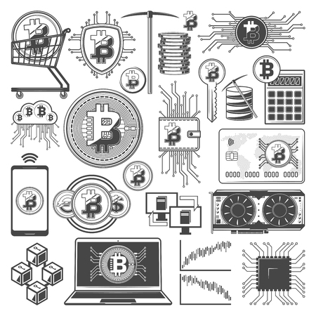 Bitcoin cryptocurrency mining and digital currency blockchain technology symbols. Vector crypto currency digital wallet in smartphone, miner pickaxe and computer chipset cooler and code key