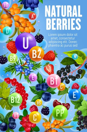 Vitamins and minerals in garden and forest berries.