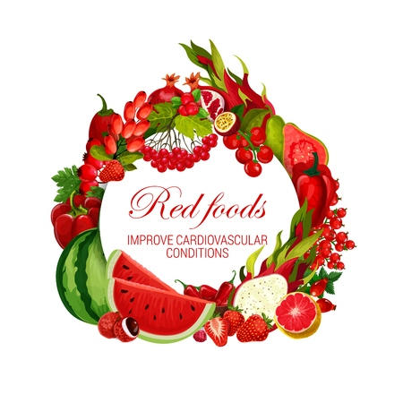 Red food nutrition, color diet healthy vegan vegetables, fruits and berries.