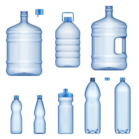 Plastic water bottles, realistic 3D mockup model set. Vector isolated transparent liquid containers, sport drink, juice or mineral drinking water bottle with cap, lid and handle