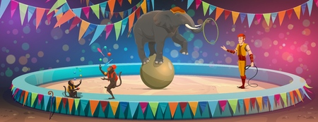 Circus trained wild animals show performance on arena. Vector big top circus animal tamer and elephant balancing on ball with hoop, monkeys in clown costumes juggling balls and pins