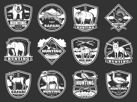 Hunting open season and hunter society club badges.