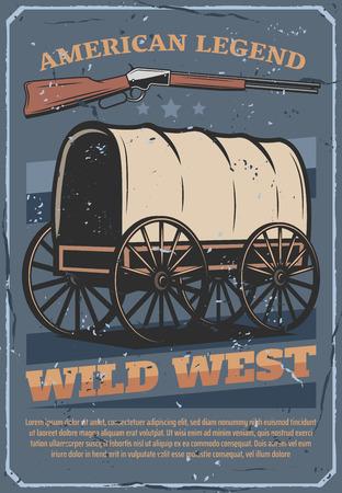 Cartel de grunge vintage del salvaje oeste y americano occidental.